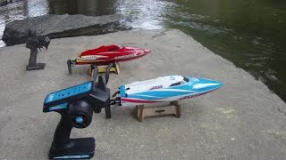 2 Speedboat River Fun LRP Deep Blue 420 and Super Mono X