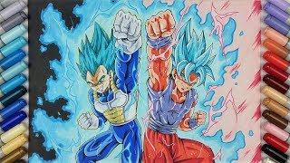 Drawing VEGETA SSj Blue MAX POWER & GOKU SSj Blue KAIOKEN x10 !!! | TolgArt