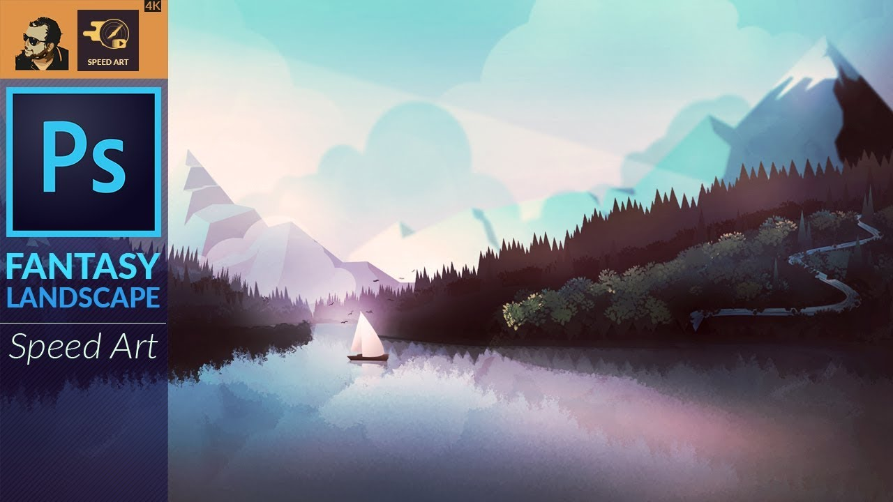 Fantasy Landscape artwork in Adobe Photoshop CC | Speed Art