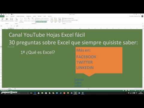 Canal Hojas Excel fácil 30 preguntas Excel