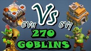 Clash of Clans #29 | CV11 atacando CV7 com 270 GOBLINS e HERÓIS | Será que deu PT? [PT-BR]