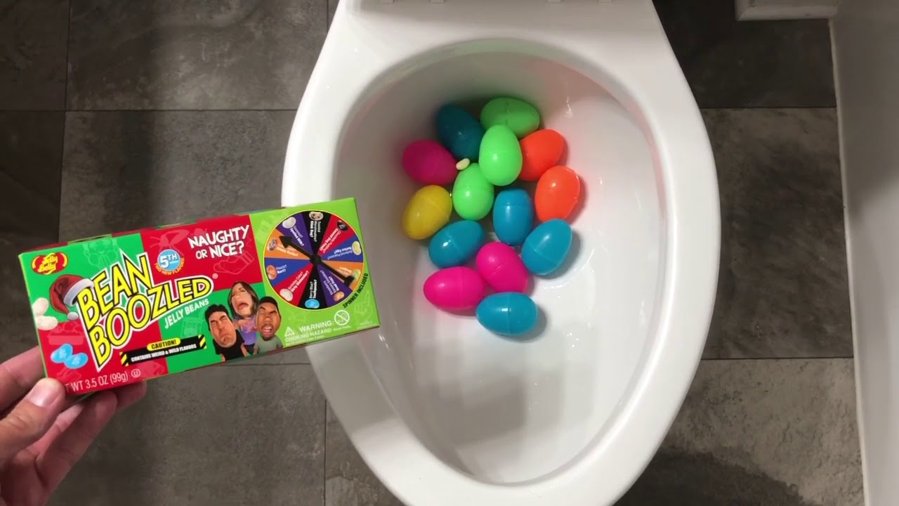 Will it Flush? - Rainbow Surprise Eggs and Bean Boozled