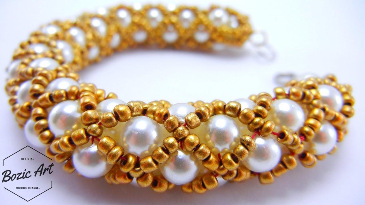 Free horizontal netting beaded bracelet pattern.