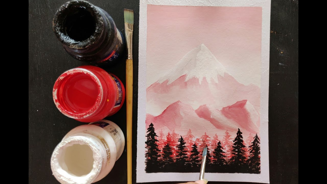 easy poster colour scenery painting ideas for beginners