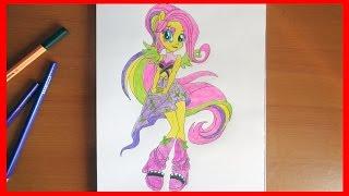 How to draw Fluttershy, My Little Pony Equestria Girls Rainbow Rocks
