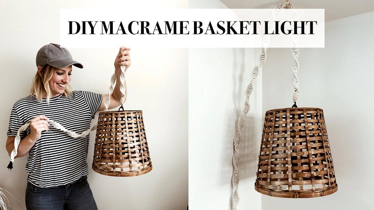 DIY Macrame Hanging Basket Light - YouTube