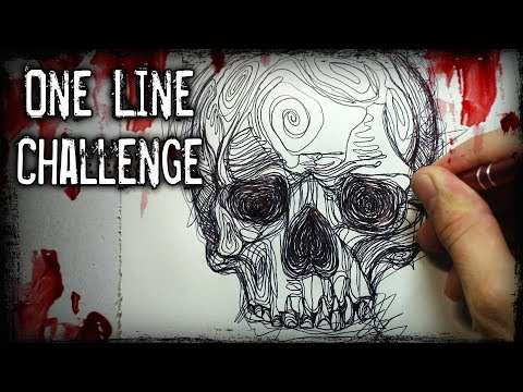 ONE LINE Drawing CHALLENGE! + Horror STORY (Creepypasta)
