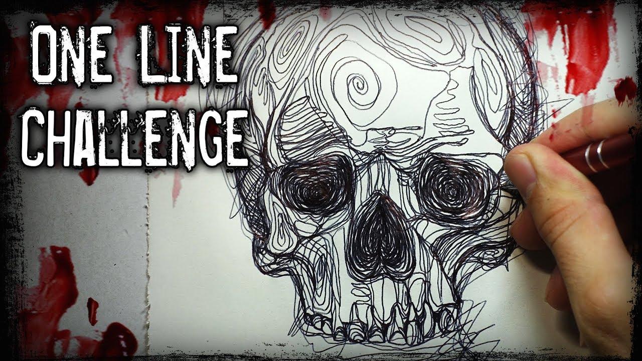 The Line Art Challenge : One line drawing challenge horror story creepypasta