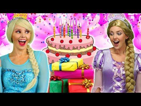 DISNEY PRINCESS 2 BIRTHDAYS SURPRISE. (Elsa, Rapunzel, Belle, Cinderella and Anna) Totally TV