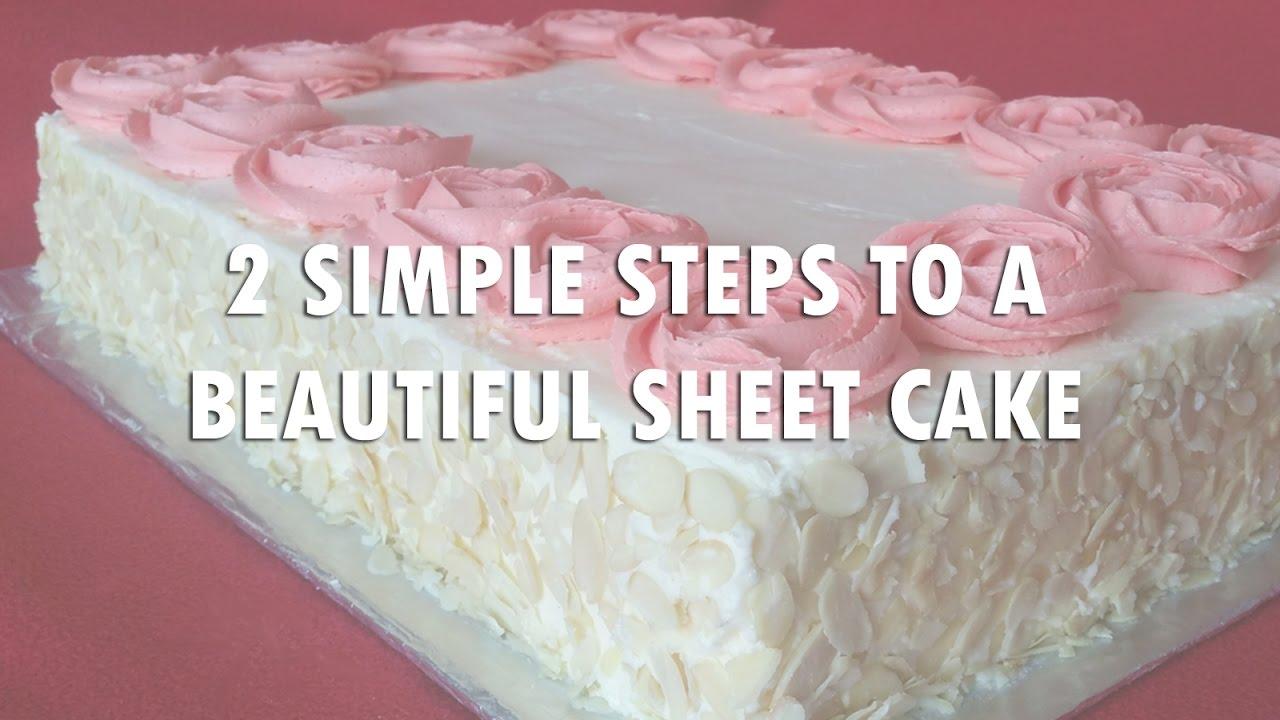 Easy buttercream roses sheet cake decorating also youtube rh