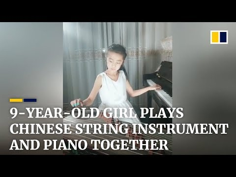 Young girl plays Chinese string instrument and piano at the same time