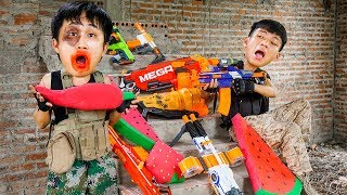 Battle Nerf War: Warrior Forces Nerf Guns Fighting Team Robbery Ice Cream Nerf