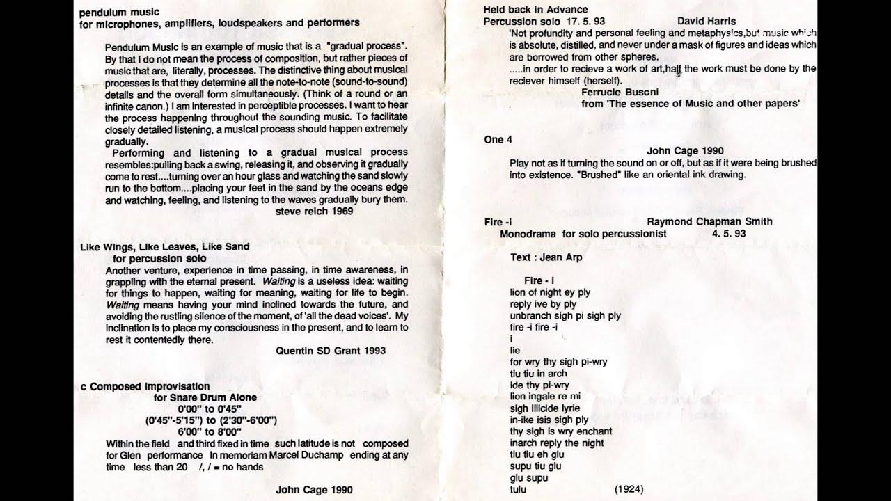 John Cage C Composed Improvisation