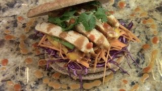 Asian Fusion Chicken Sandwich With Asian Peanut Butter Sauce