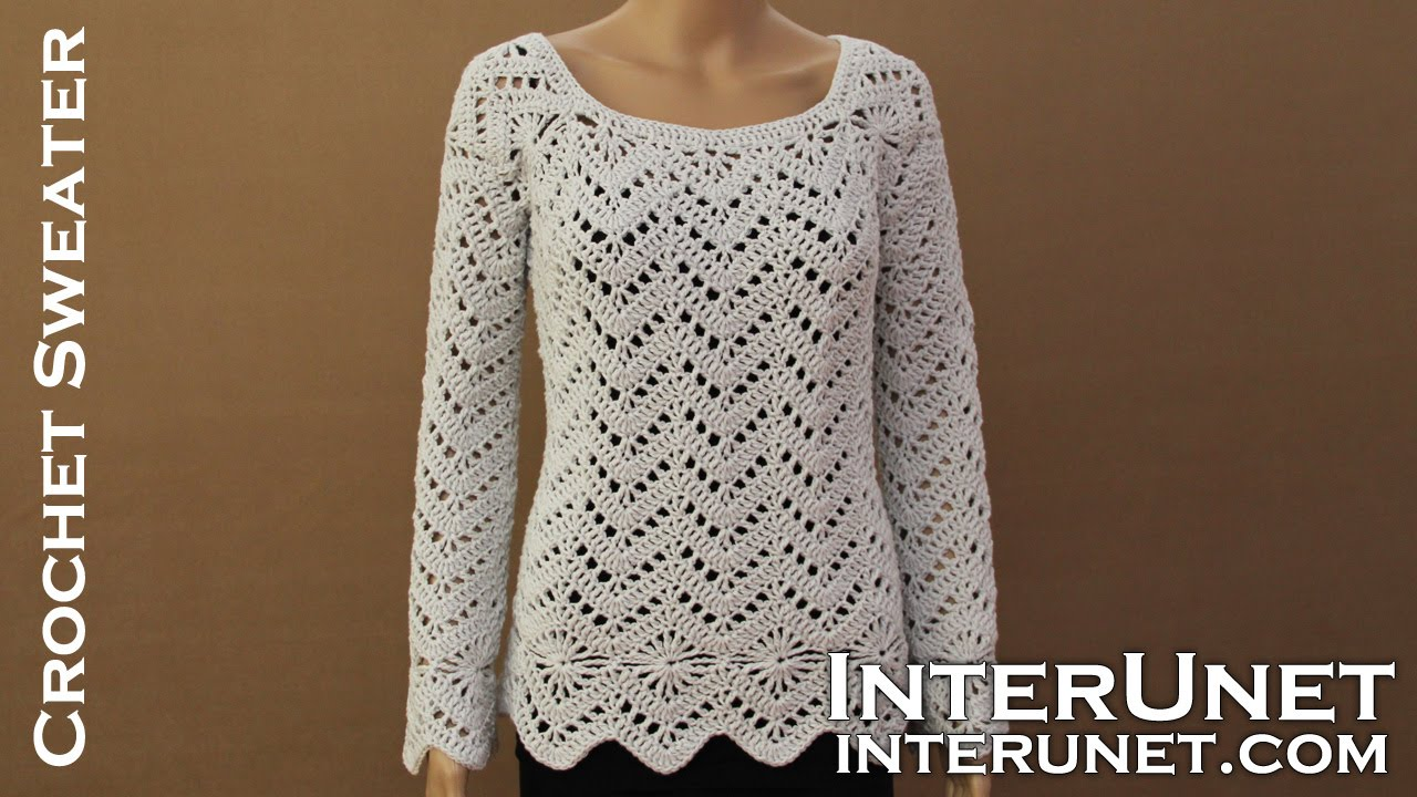 Long sleeve sweater crochet pattern. Learn how to crochet lace ...