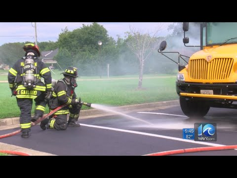 Hampton conducts simulated school bus fire exercise