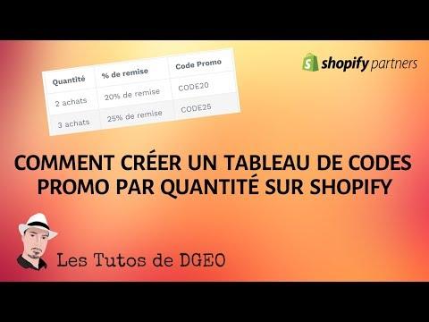 Comment Créer Un Tableau De Codes Promo Par Quantité Sur Votre Boutique Shopify / SPEED ECOM