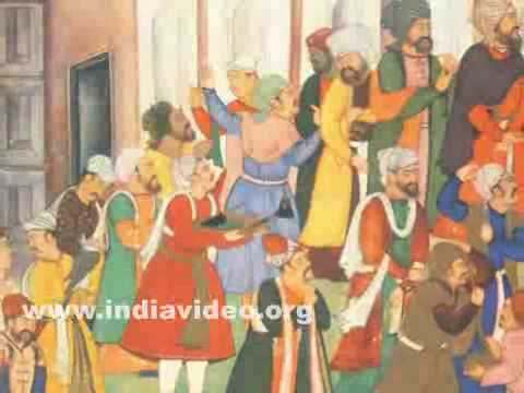 Babur distributing gifts, Indian painting by Bhura