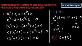 Ecuaciones Polinomiales con una Incógnita Resueltas mediante Factorización, Parte 1
