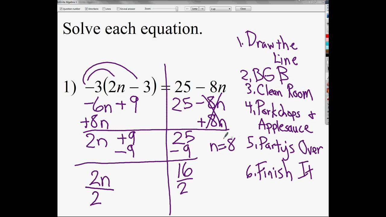 Solving Equations With Variables On Both Sides And With Distributive Property