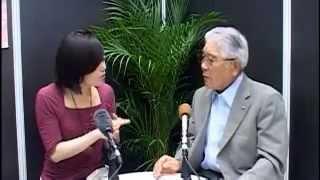 2013年 よい仕事おこしフェア  開会式、あぶくま信用金庫 半澤 恒夫理事長 インタビュー展示ホール1