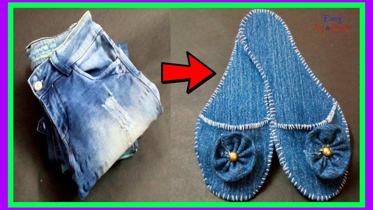 Recycle Old Waste Jeans Denim Into Cute Slippers How To