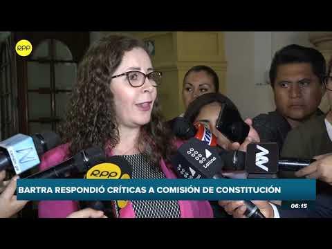Congresista Rosa Bartra respondió las críticas a la comisión de Constitución