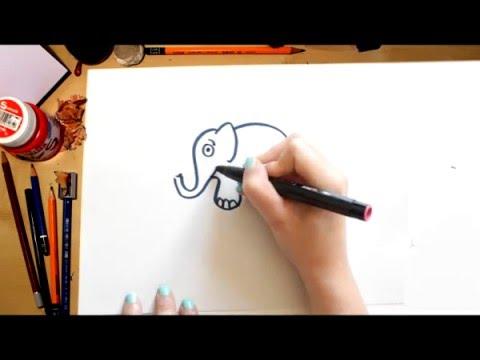 Como dibujar un elefante dibujos para ni os youtube - Dibujos de pared para ninos ...