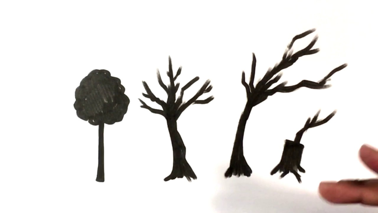 Tips on Drawing a Scary Tree - Halloween Drawings - YouTube