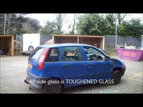 Mr Foulds smashes car windows at Torquay Academy to compare glass types