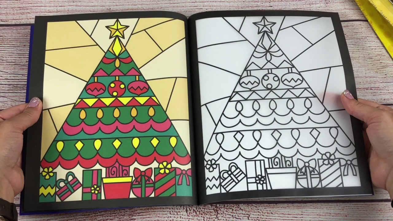 a look inside the usborne christmas stained glass coloring book