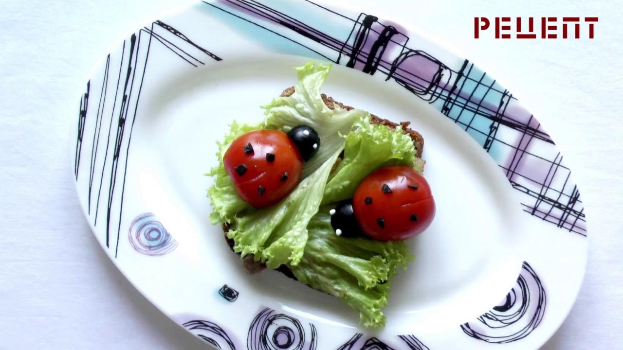 Рецепт бутерброда Божья коровка - красивые праздничные бутерброды.