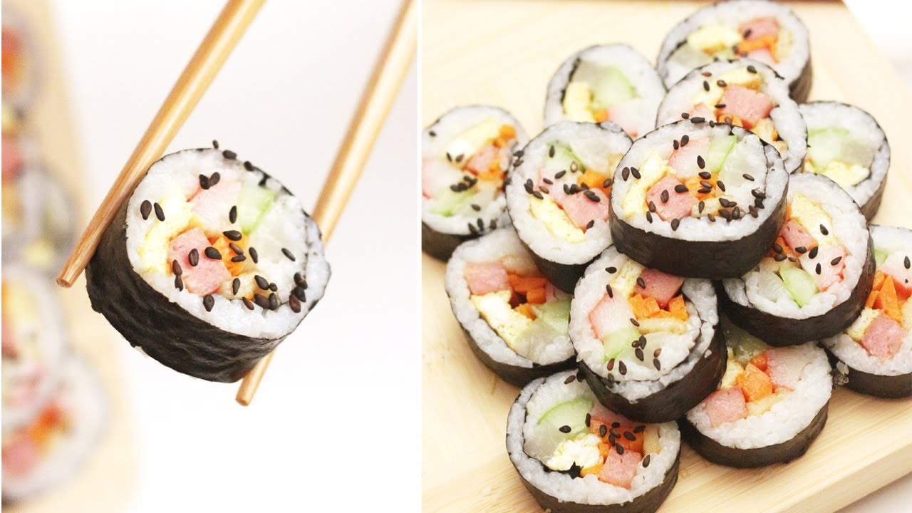 Kimbap gimbap korean roll without raw fish for Is sushi raw fish