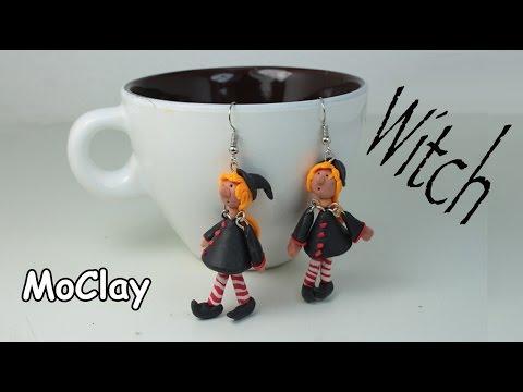 Halloween Witch miniature. Diy earrings tutorial