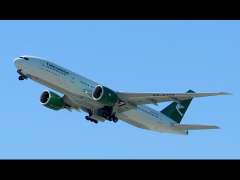 Turkmenistan Airlines Boeing 777-200LR [EZ-A779] takeoff from PDX