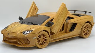 Wood Carving - Lamborghini Aventado S 2021 - Woodworking Art