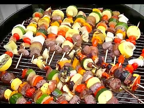 How To Make Steak & Veggie Shish Kabobs / Kebabs on a Charcoal Grill - YouTube