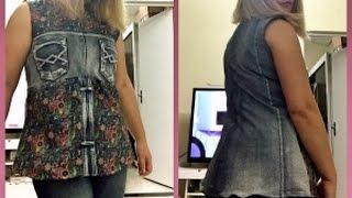 Transforme uma calça jeans em uma bata