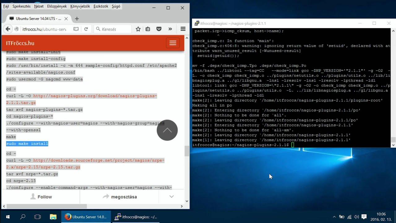 Ubuntu Server 14 04 LTS - Nagios Core 4 1 1 telepítés, beállítás