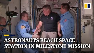 Astronauts Arrive At International Space Station On Historic Mission Using Private Spacex Rocket
