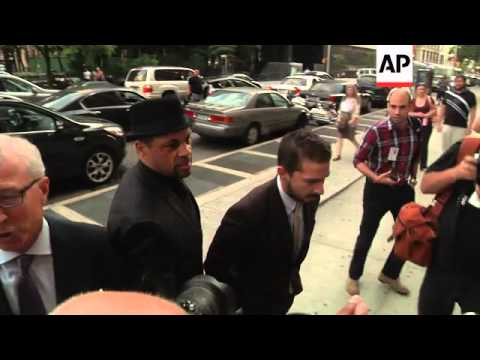 Actor Shia LaBeouf walked in and out of a New York courthouse Thursday for a hearing on charges of d