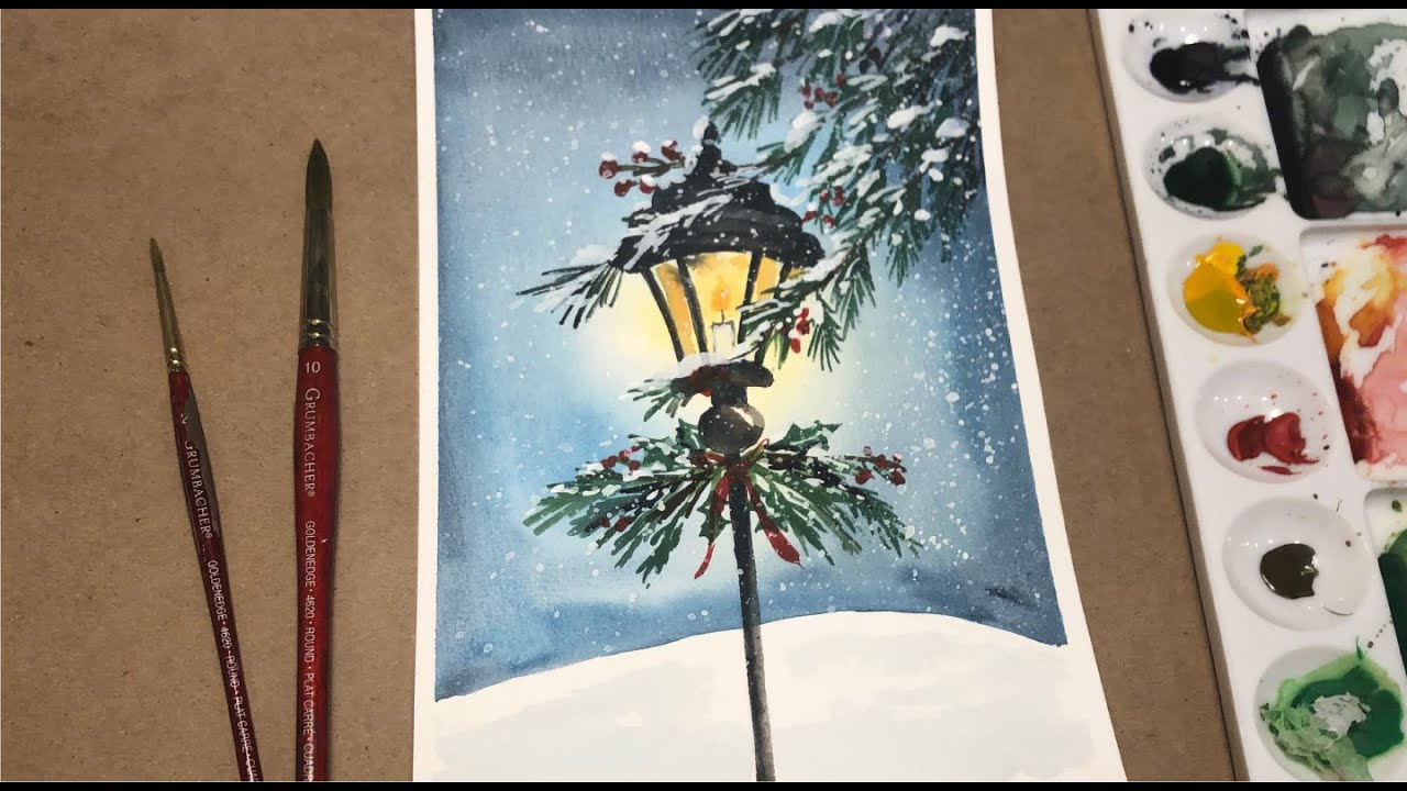 Watercolor Painting Ideas For Beginners Winter Lantern Watercolor Techniques Winter Landscape Youtube