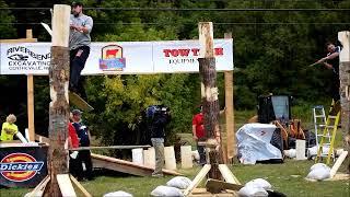 Axe lands upright when lumberjack falls off Spring board . lumberjacks,Bath,NB,2017