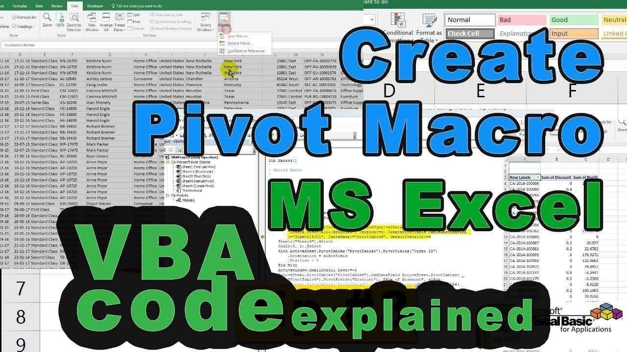 Create pivot in excel using excel macro vba