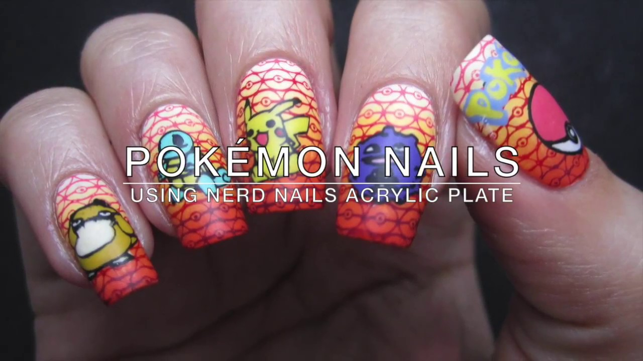 Stamping Pokémon Nail Art - using Nerd Nails Plate 16 - YouTube