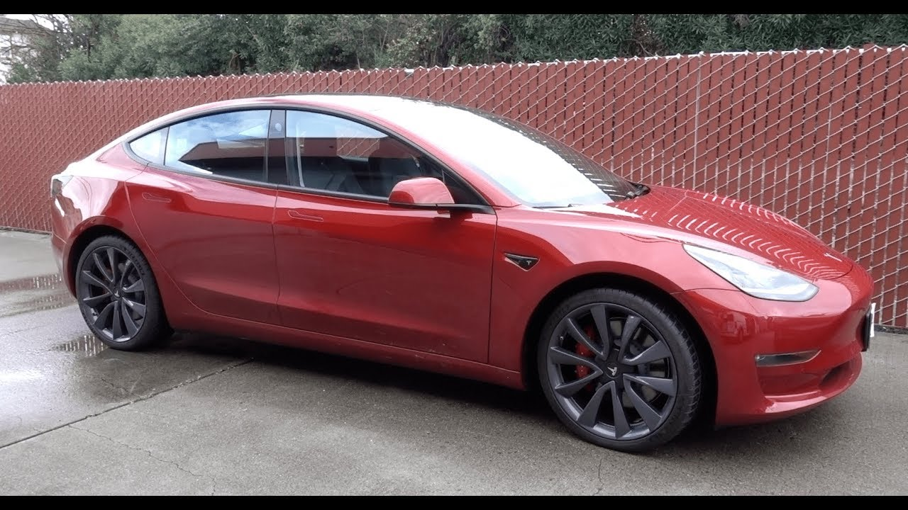 Tesla Model 3 - Chrome Delete with Red Handles and Turbine ...