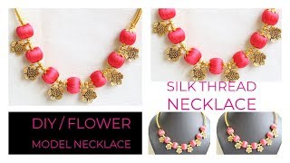 How To Make Silk Thread Necklace|| Necklace At Home..!
