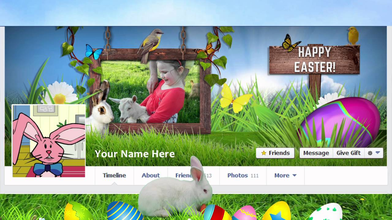 easter frame facebook cover psd template youtube