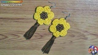 "How to Crochet a ""Sunflower"" Earrings"