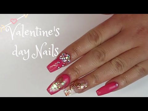 Acrylic Nails Valentine S Day Nail Design Youtube
